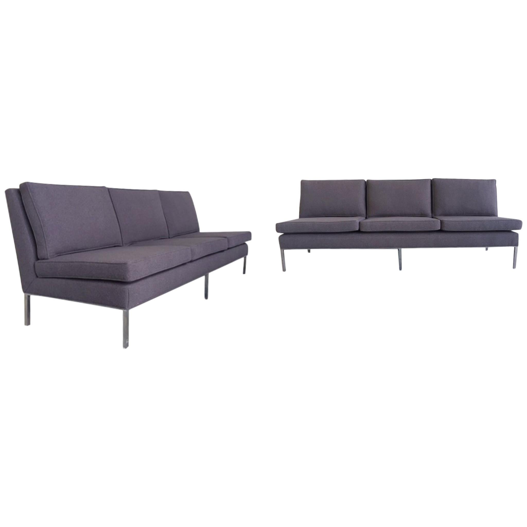Midcentury Florence Knoll Armless Sofas, A Pair For Sale