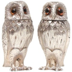 Tiffany & Co. London Sterling Silver Salt and Pepper Shakers Owl Form, 1966