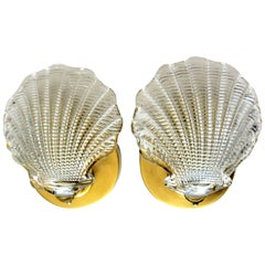 Pair of Italian Murano Glass Clam Shell Shaped Wall Sconces