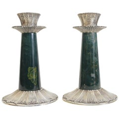 Stunning Pair of Sterling Silver & Rouche Green Stone Candlesticks by Buccellati