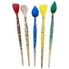 Set of Five Large Art Store Advertising Painted Wood Brushes