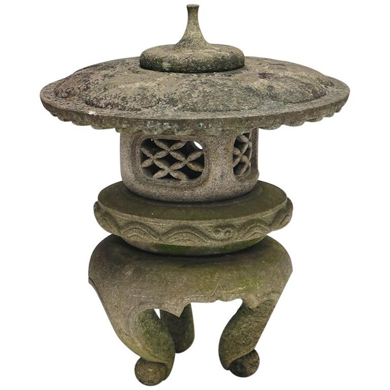Four-Part Hand-Carved Granite Snow Lantern from Japan, 19th Century