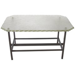 Fontana Arte Style 1960s Italian Glass Slab and Metal Coffee or Cocktail Table
