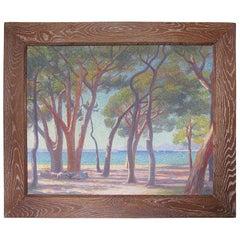 French Louis Azais Oil on Canvas Pointillism Painting Mediterranean Seascape