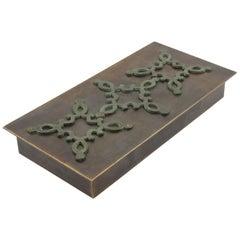 French 1940s Modernist Brass Decorative Lidded Box with Geometric Inlaid