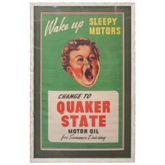 "1940s Quaker State Motor Oil ""Sleepy Motors"" Advertising Poster Framed"