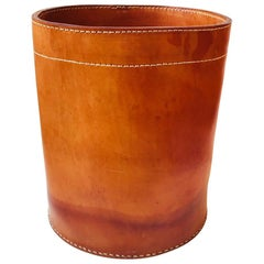 Vintage Danish Tanned Leather Paper Waste Basket, Denmark, 1960s