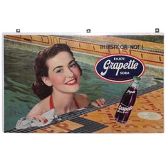 Vintage 1940s Grapette Soda Lithograph Cardboard Advertising