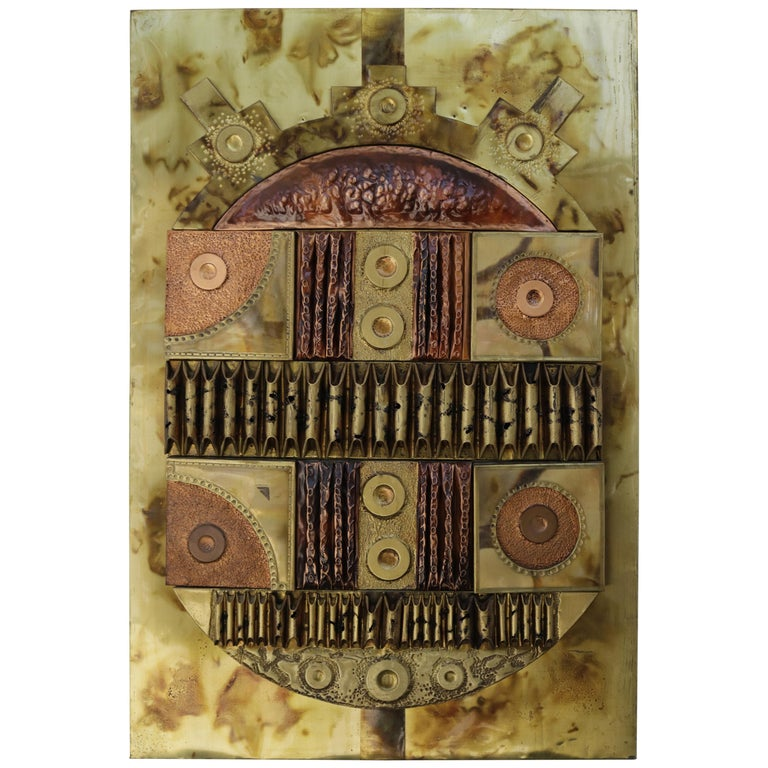 Brutalist Copper and Brass Wall Art For Sale