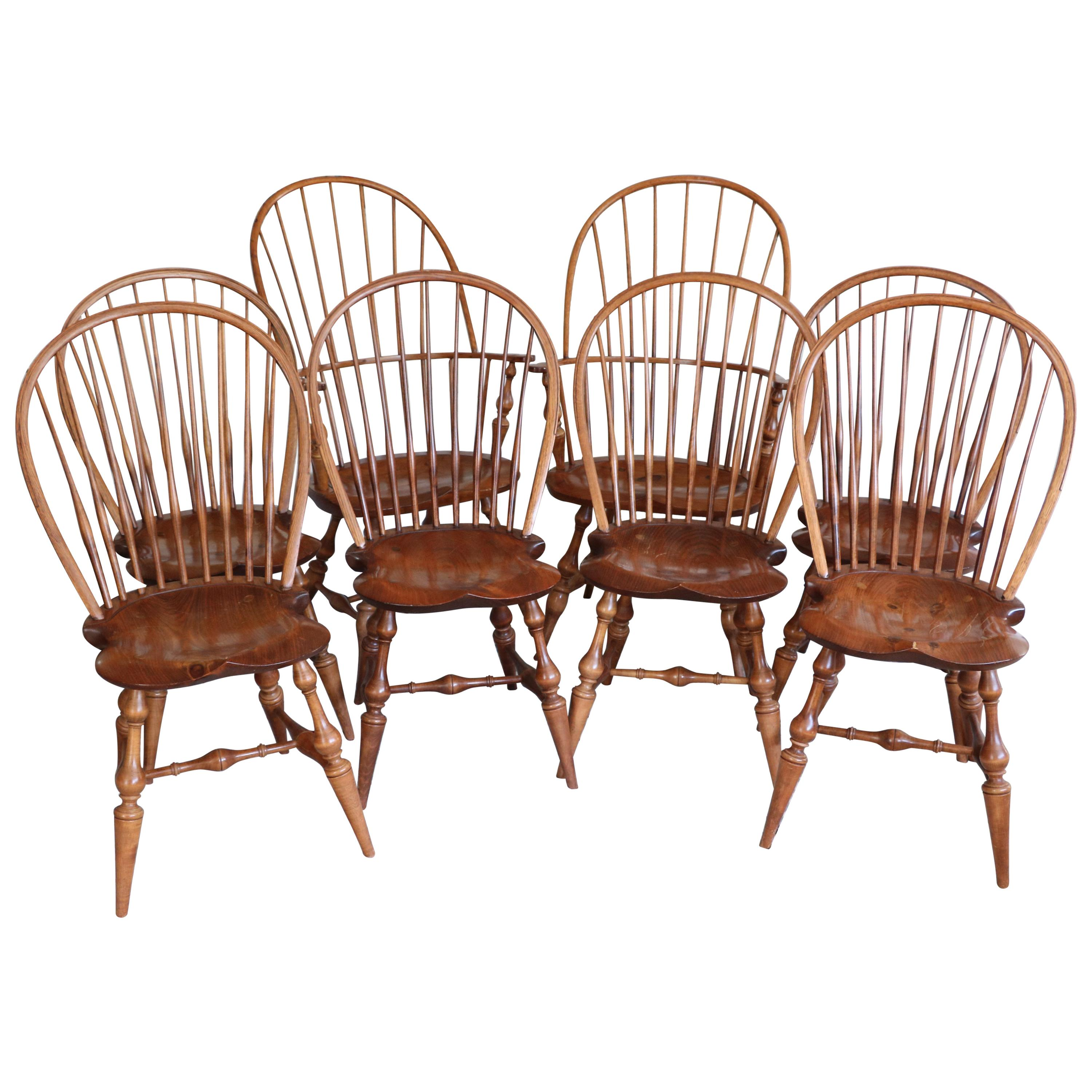 Set Of Eight D.R. Dimes Dining Windsor Chairs, Handcrafted And Stamped