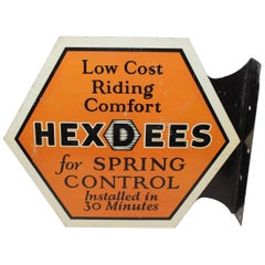 1920s HEXDEES Spring Control Vintage Double-Sided Tin Flange Sign