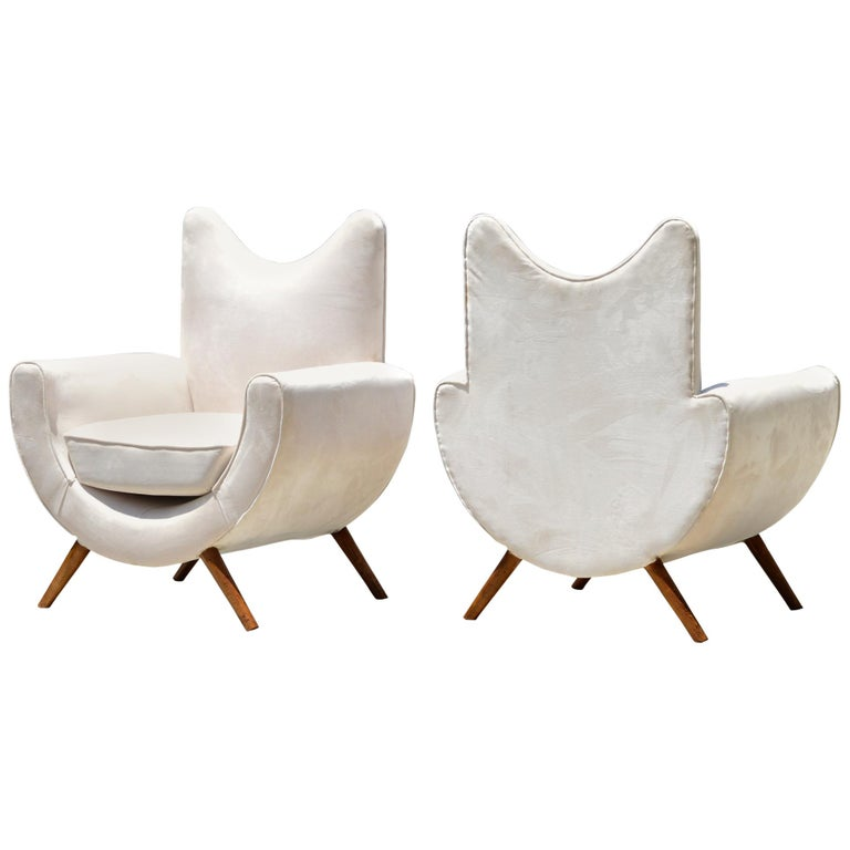 Midcentury Lounge Chairs in the Manner of Royere, a Pair