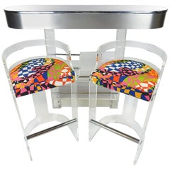 Midcentury 1970s Lighted Lucite and Mirror Dry Bar with Two Stools