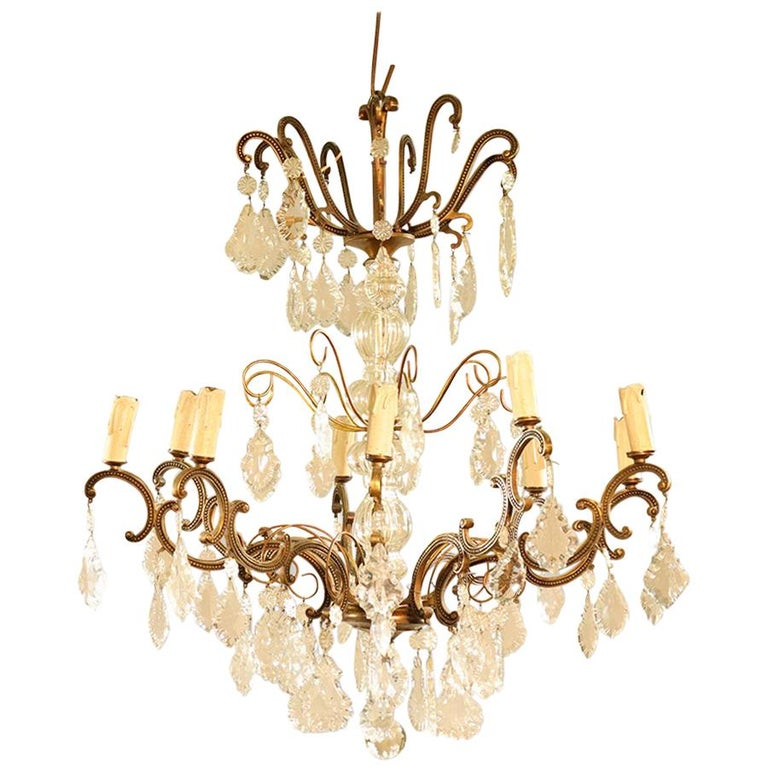 Midcentury crystal and brass ornate chandelier for sale at 1stdibs midcentury crystal and brass ornate chandelier for sale aloadofball Image collections