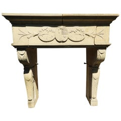 20th Century Renaissance Style Fireplace in French Limestone