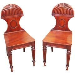 Antique Regency Mahogany Pair oOf Hall Chairs