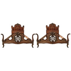 1930s Venetian Baroque Pair Twin XL Marquetry and Carved Walnut