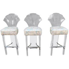 Lucite and Brass Barstools Bar Stools Charles Hollis Jones Style