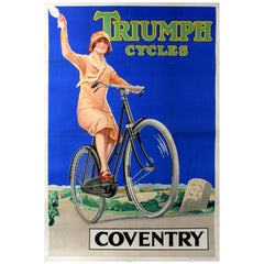 Original Vintage Bicycle Advertising Poster for Triumph Cycles Coventry 69
