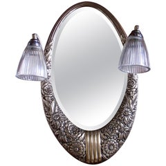 Art Deco Small Floral Brass Wall Mirror with Pair of Lights