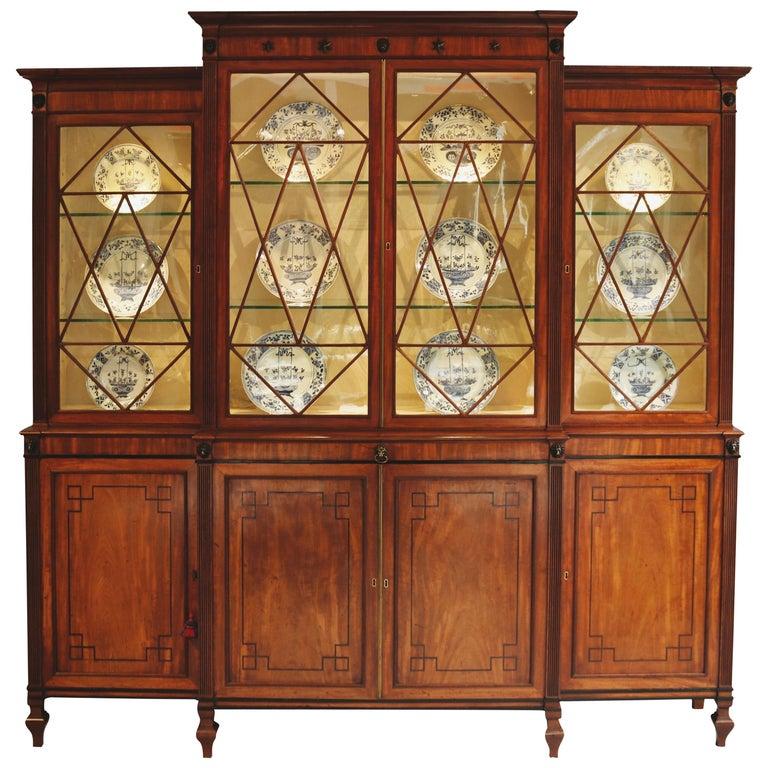 19th Century Regency Period Mahogany Breakfront Bookcase