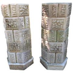 Pair of French Six-Tier Stackable Octagonal Cast Stone Planters