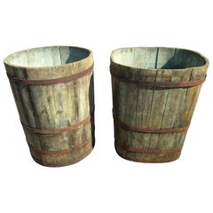 Near Pair of Enormous Alsatian Master Grape Buckets in Green Wash