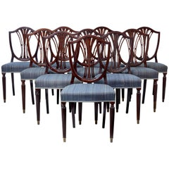 Set of Ten Early 20th Century Mahogany Shield Back Dining Chairs