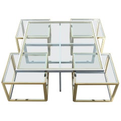 Square Segment Bicolor Brass Glass Coffee Table by Maison Charles, France, 1975