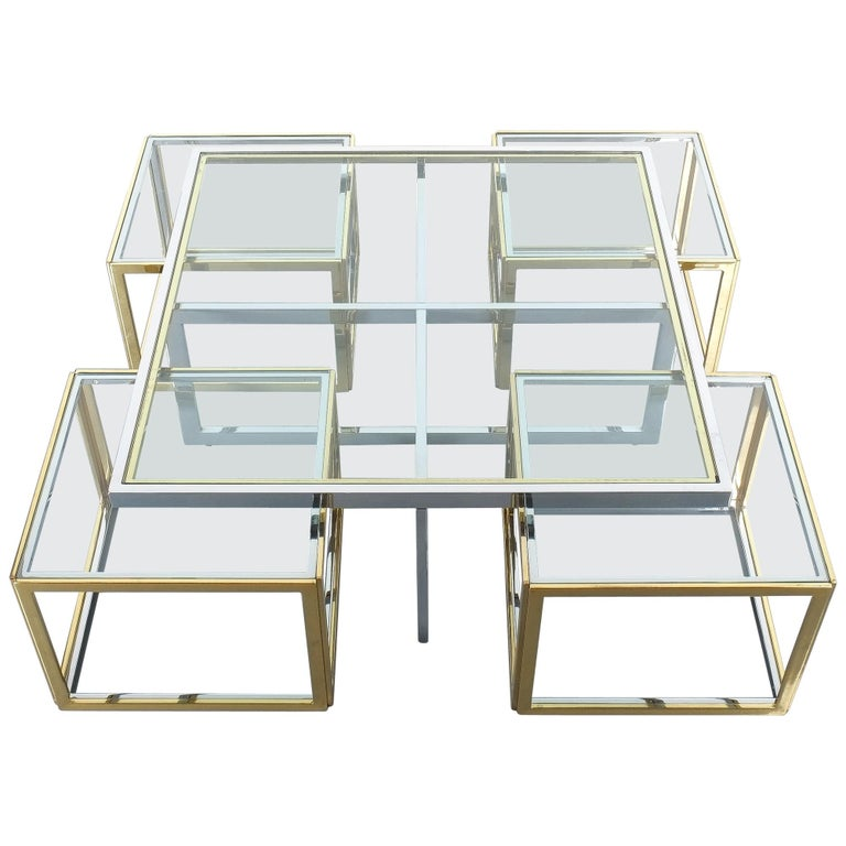 Square Segment Bicolor Brass Glass Coffee Table by Maison Charles, France, 1975 For Sale
