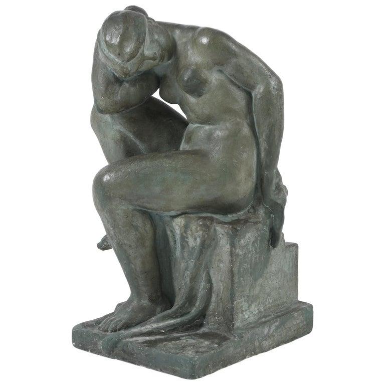 Large 1940s Plaster Female Nude Sculpture
