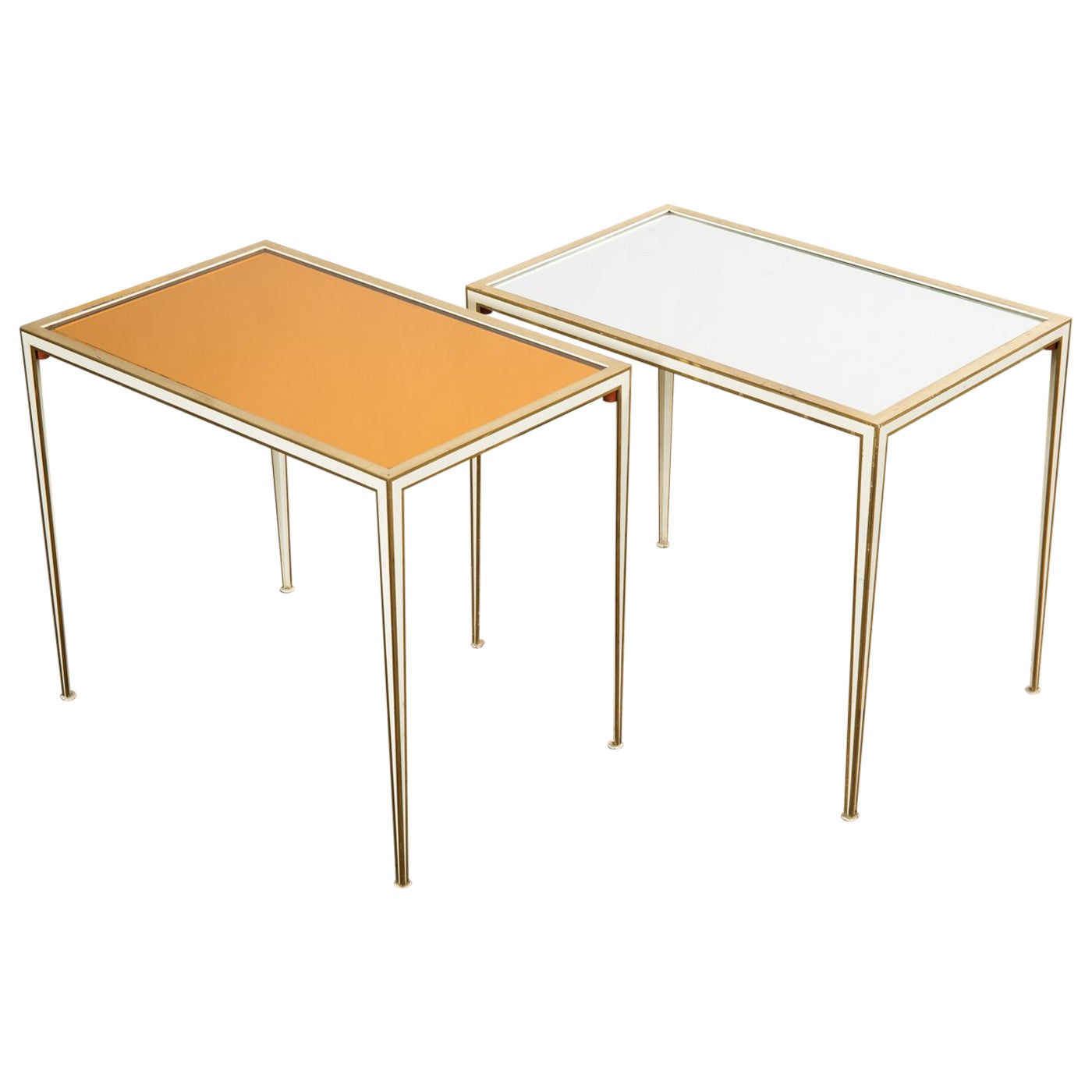 Pair of Mid-Century side tables with Mirror Glass tops by Vereinigte Werkstätten