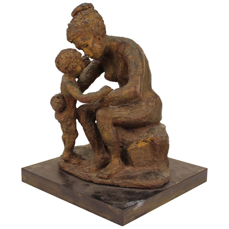 Evelyn Morgenbesser Mid-Century Modern Sculpture of Mother and Child