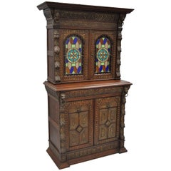 Renaissance Revival Leaded Stained Glass Oak Sideboard Cupboard Cabinet Bookcase