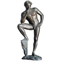 """Lucifer Resting,"" Standing Male Nude, Rare Sculpture by Antonio Salemme"