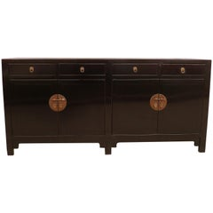 Fine Black Lacquer Sideboard with Drawers and Doors