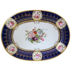 Chamberlain Worcester Antique Porcelain Hand-Painted Floral Platter