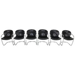 Set of Six Chairs by Gastone Rinaldi Leather and Tubular Chromed Frame 1970s
