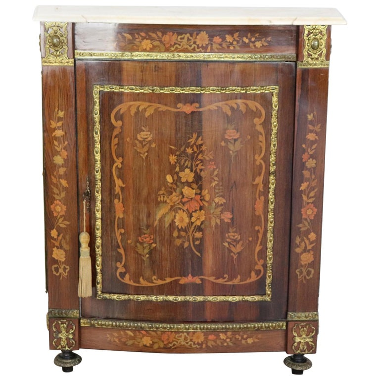 19th Century French Napoleon III Rosewood Inlay Wood Cabinet with Marble Top