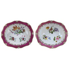 Pair of English Possibly Ridgway Porcelain Hand-Painted Platters