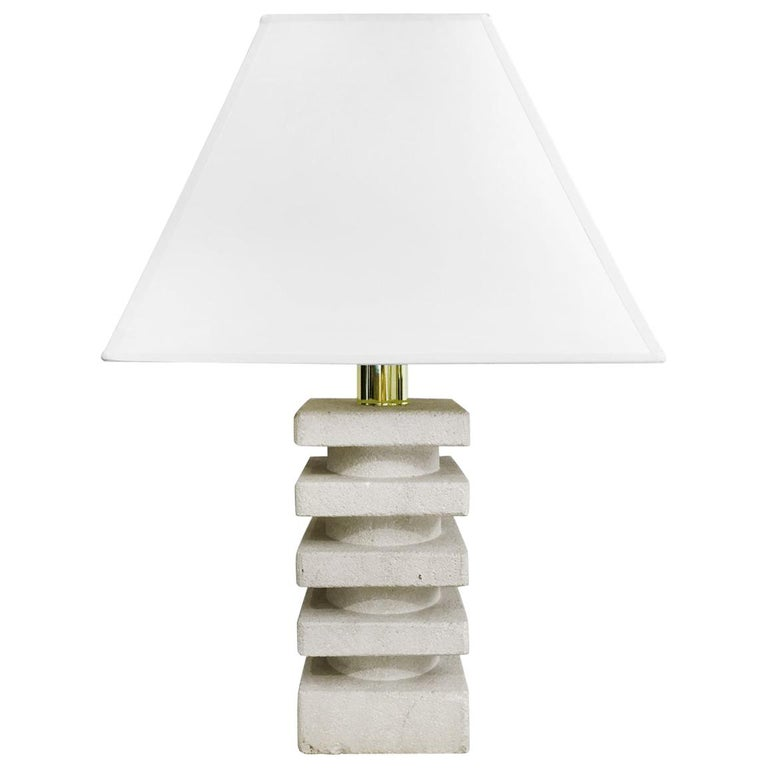 Small Midcentury Stacked Square Stone Table Lamp For