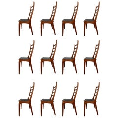 12 Danish Modern Teak Ladder Back Dining Chairs by Kai Kristiansen, 1960s
