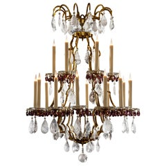 Rock Crystal and Amethyst Glass Eighteen-Light Chandelier