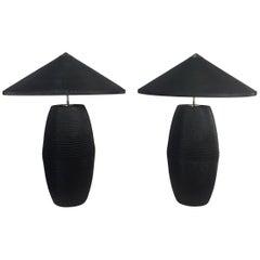 Cardboard Lamps in the Style of Frank Gehry or Gregory Van Pelt Poet Modern
