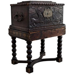 Baroque Box with Interior Paint on Stand, Origin Norway, Dated 1760