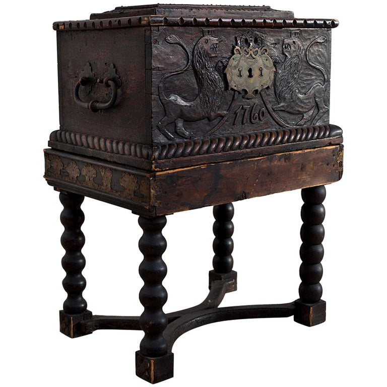 Baroque Box with Interior Paint on Stand, Origin Norway, Dated 1760 For Sale