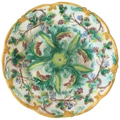 English Majolica Plate with Grapes, circa 1880