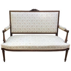 Lovely 19th Century French Louis XVI Style Walnut Settee Loveseat