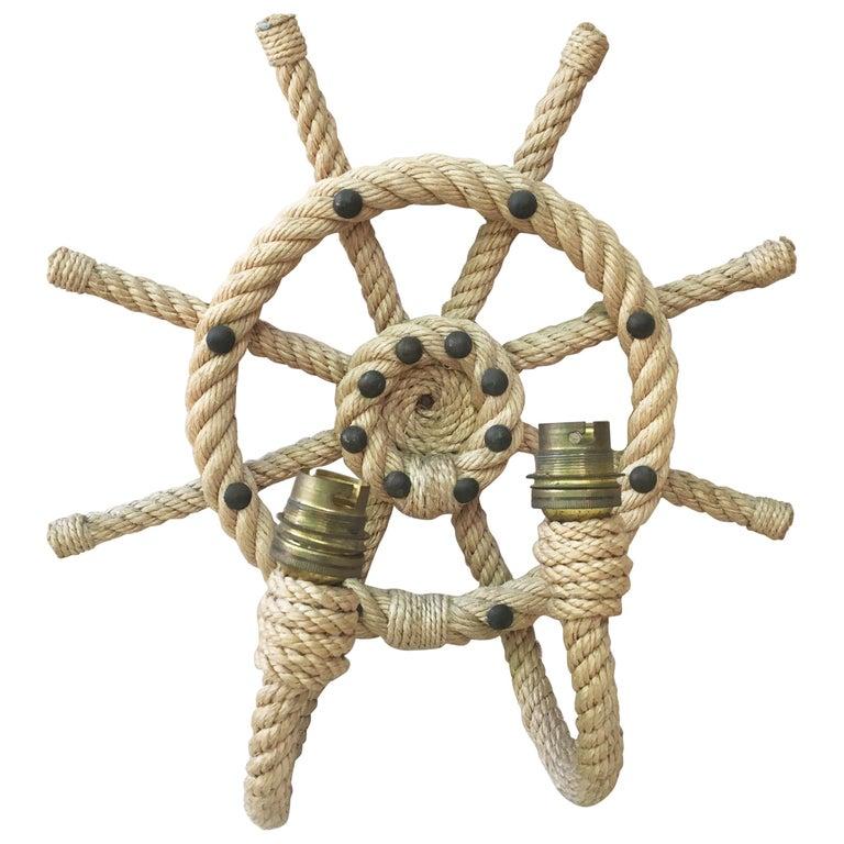 Rope Ship Wheel Sconce Audoux Minet, circa 1960
