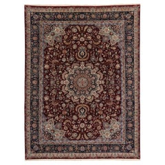 Vintage Chinese Persian Style Mashhad Area Rug with Traditional Style